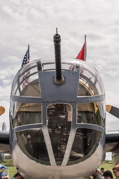 "DAYTON, Ohio (04/2017) -- Eleven B-25 Mitchell bombers were on static display at the National Museum of the U.S. Air Force on April 17-18, 2017, as part of the Doolittle Tokyo Raiders 75th Anniversary. The B-25 aircraft pictured here is ""Semper Fi"", owned by Mike Hohls from CAF Southern California in Camarillo, CA. (U.S. Air Force photo by Kevin Lush)"