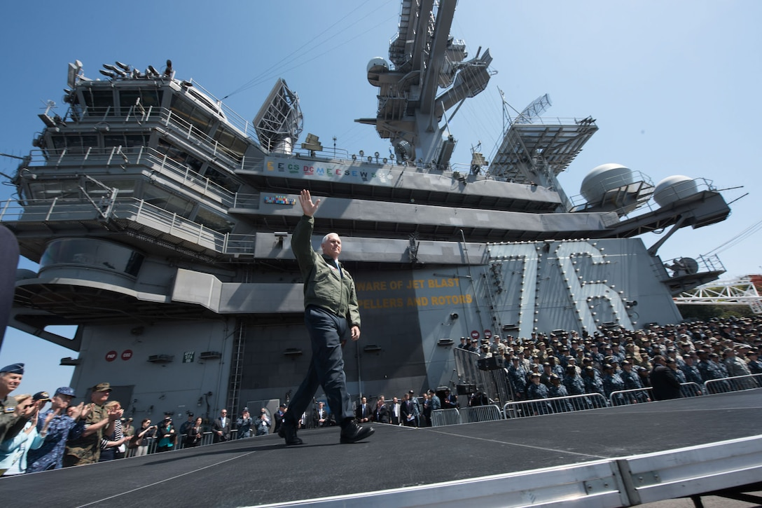 Vice President Mike Pence waves to service members on the USS Ronald Reagan in Yokosuka, Japan, April 19, 2017. White House photo by D. Myles Cullen