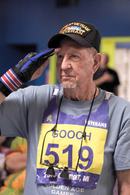 A veteran salutes at the bowling competition during the 2016 National Veterans Golden Age Games in Detroit. The 2017 NVGAG will take place from May 7-11, 2017, in Biloxi, Miss.