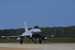 A Royal air force Eurofighter Typhoon, taxis on the runway during ATLANTIC TRIDENT 17 at Joint Base Langley-Eustis April 10, 2017. The exercise was designed to encourage sharing tactics, techniques and procedures with French air force and RAF partners against a range of potential threats, while leveraging U.S. Air Force fifth-generation capabilities. (U.S. Air Force photo/Airman 1st Class Anthony Nin Leclerec)