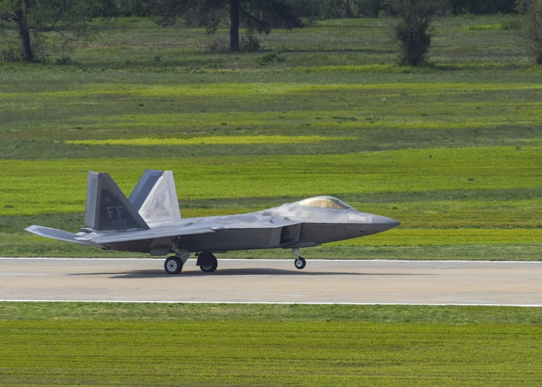 A U.S. Air Force F-22 Raptor, lands during ATLANTIC TRIDENT 17 at Joint Base Langley-Eustis, Va., April 17, 2017. The exercise focused on operations in a highly contested operational environment through a variety of complex, simulated adversary scenarios. (U.S. Air Force photo/Airman 1st Class Anthony Nin Leclerec)