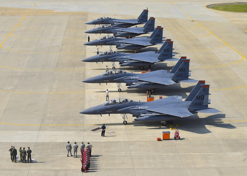 U.S. Air Force F-15E Strike Eagles assigned to Mountain Home Air Force Base, Idaho, park on the flightline during ATLANTIC TRIDENT 17 at Joint Base Langley-Eustis, Va., April 14, 2017. While playing the role of adversarial aircraft during the exercise, the F-15E provides Airmen and allied partners the opportunity to experience realistic combat scenarios that enhance the ability to effectively fight together in combat environments. (U.S. Air Force photo/Airman 1st Class Anthony Nin Leclerec)
