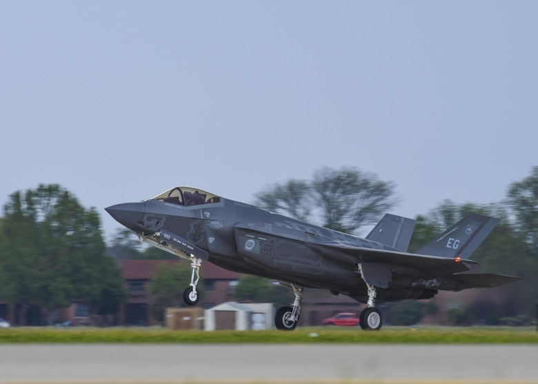 A U.S. Air Force F-35A Lightning II, assigned to Eglin Air Force Base, Fla., lands on the flightline during ATLANTIC TRIDENT 17 at Joint Base Langley-Eustis, Va., April 17, 2017. Adding the F-35A to the training increased capabilities and added another technologically advanced fighter to the allied airpower capability. (U.S. Air Force photo/Airman 1st Class Anthony Nin Leclerec)