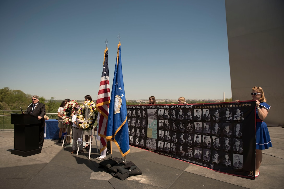 Mr. Warren Hegg, National Supervisor, Keep the Spirit of '45 Alive, delivers remarks during a wreath laying ceremony honoring the 75th Anniversary of the Doolittle Tokyo Raid at the Air Force Memorial in Arlington, Va., Apr. 18, 2017. (Photo by Senior Master Sgt. Adrian Cadiz)(Released)