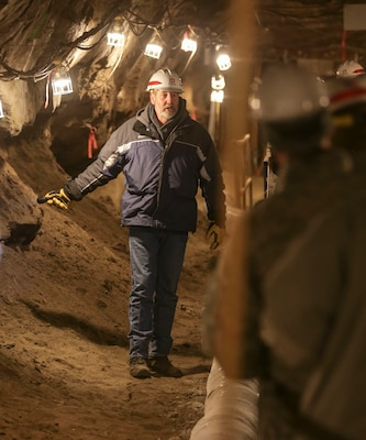 Gary Larsen, operations manager, of the U.S. Army Engineer Research and Development Center's Cold Regions Research and Engineering Laboratory's Alaska Research Office hosts a visit inside the Fox Permafrost Tunnel.
