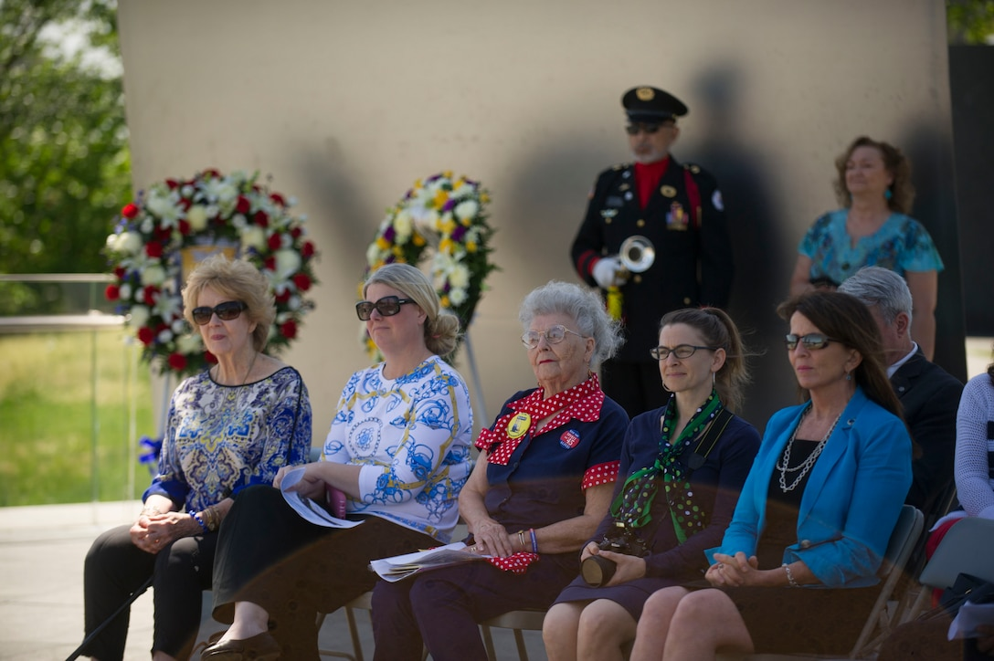 Guests attend a wreath laying ceremony honoring the 75th Anniversary of the Doolittle Tokyo Raid at the Air Force Memorial in Arlington, Va., Apr. 18, 2017. (Photo by Senior Master Sgt. Adrian Cadiz)(Released)
