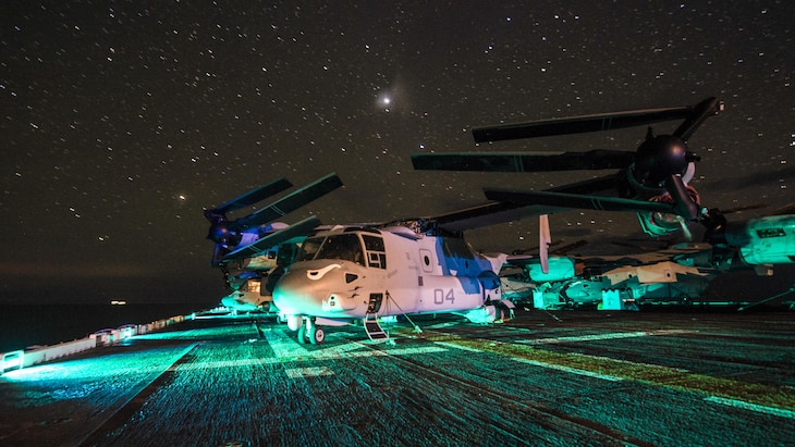 An MV-22B Osprey assigned to Marine Medium Tiltrotor Squadron 163 sits on the flight deck of the amphibious assault ship USS Makin Island in the South China Sea, April 15, 2017. Navy photo by Petty Officer 3rd Class Devin M. Langer