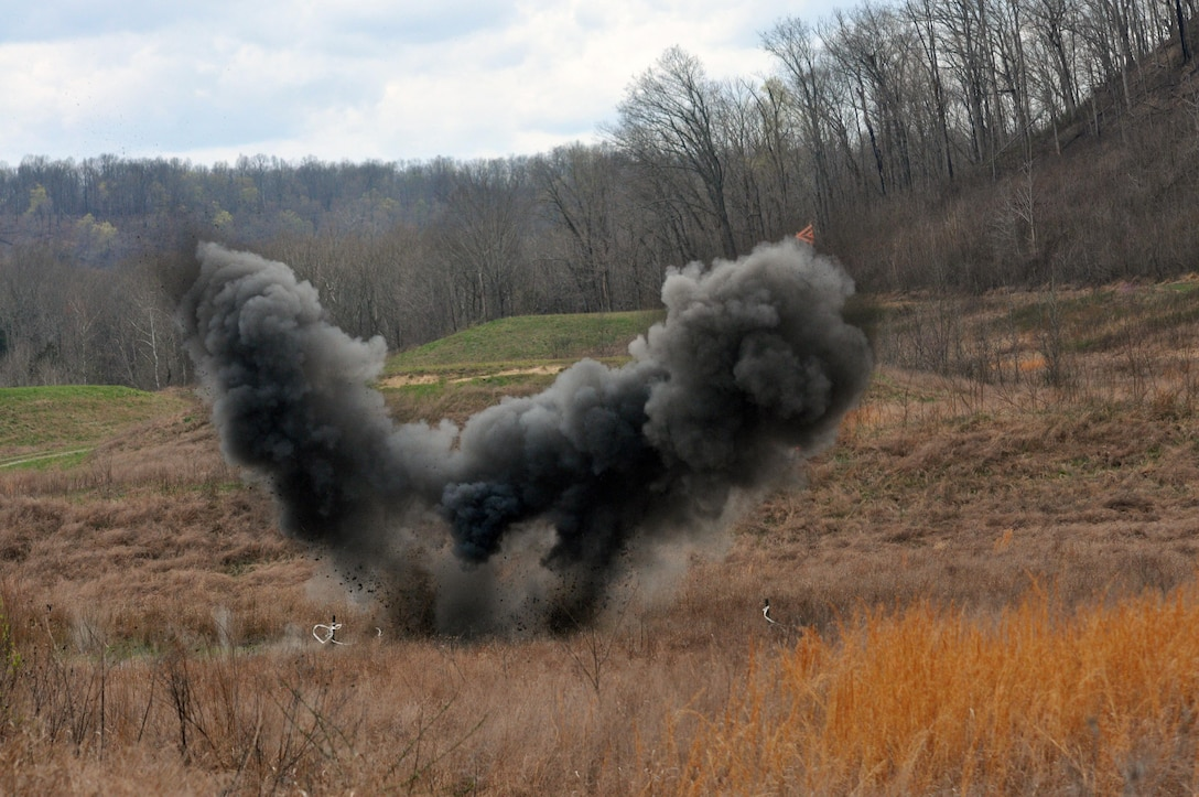 A Bangalore torpedo fired by two U.S. Army Reserve Soldiers with 979th Mobility Augmentation Company; 478th Engineer Battalion; 926th Engineer Brigade, 412th Theater Engineer Command, detonates at Wilcox Range on Fort Knox, Ky., March 30, 2017. (U.S. Army Reserve photo by Sgt. 1st Class Clinton Wood)