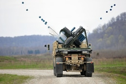 A M-136 Volcano weapons system of the 979th Mobility Augmentation Company, 478th Engineer Battalion, 926th Engineer Brigade, 412th Theater Engineer Command, based in Lexington, Ky., emplaces training mines during the company's training at Wilcox Range on Fort Knox, Ky., April 1, 2017. This was part of Engineer Qualification Table XII. This company was the first U.S. Army Reserve unit to accomplish this feat. (U.S. Army Reserve Photo by Sgt. 1st Class Clinton Wood)