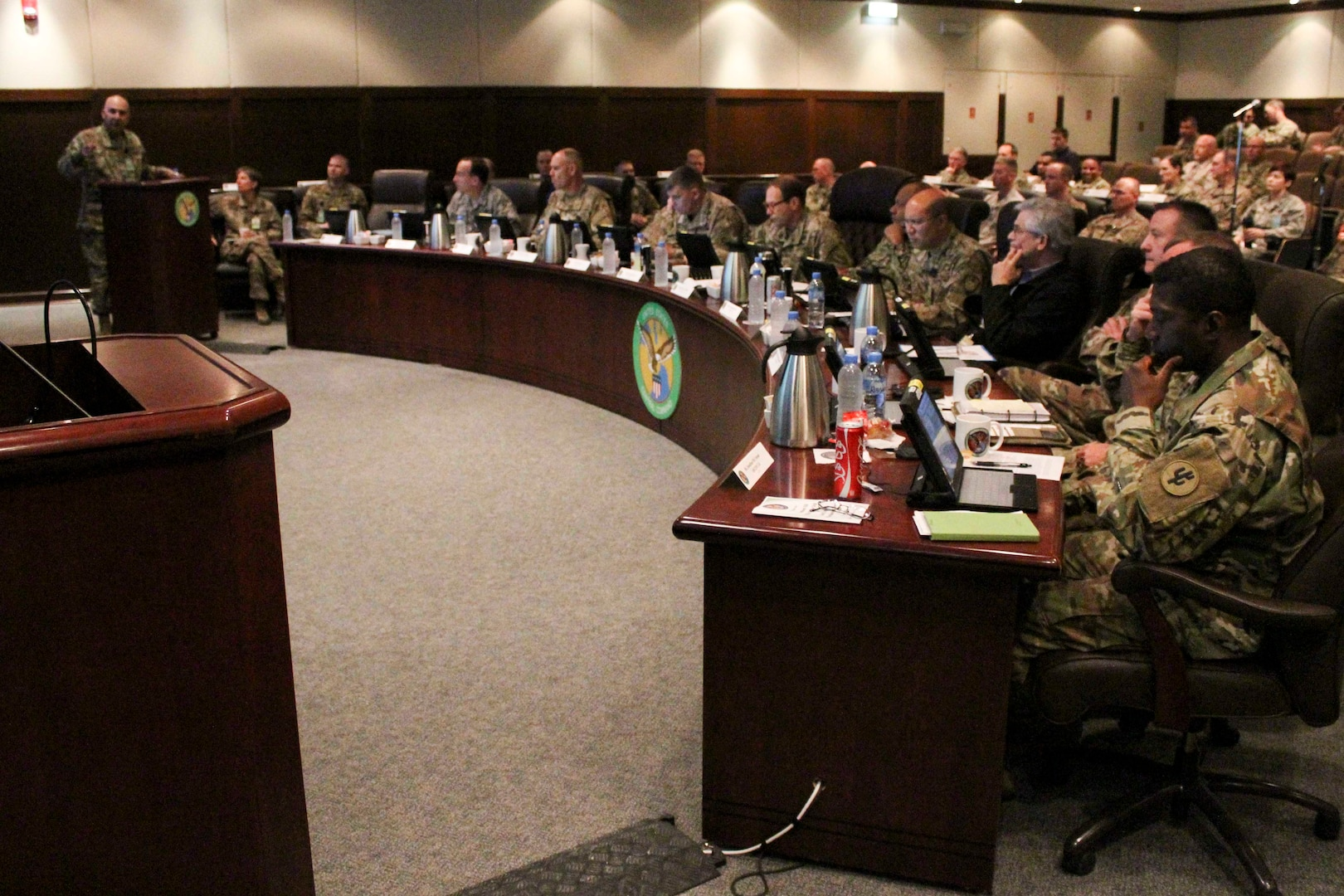 U.S. military logistics leaders and experts from across the Department of Defense discuss long-term logistics planning during the Joint Logistics Coordination Board at the U.S. Central Command forward headquarters at Al Udeid Air Base, Qatar, April 6, 2017. The board was part of a week of planning conferences which included two separate sessions aimed at ensuring the joint logistics enterprise aligns efforts across the CENTCOM area of responsibility to maintain an effective readiness for both current and future operations. (U.S. Air Force photo by Staff Sgt. R. Alex Durbin)