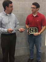 Luke Gurtowski was recently awarded the 2016 L.R. Shaffer Research and Development Achievement Award presented by Dr. Andy Martin for his teamwork with CERL during the pilot-scale validation of the Gray Water Treatment and Reuse System.