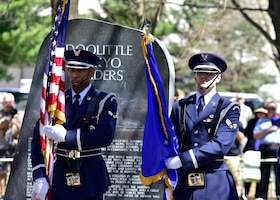 DAYTON, Ohio (04/2017) -- The Honor Guard presents the colors during a memorial service in honor of the Doolittle Raiders 75th Anniversary, which was held at the National Museum of the U.S. Air Force on April 17-18, 2017. (U.S. Air Force photo by Ken LaRock)