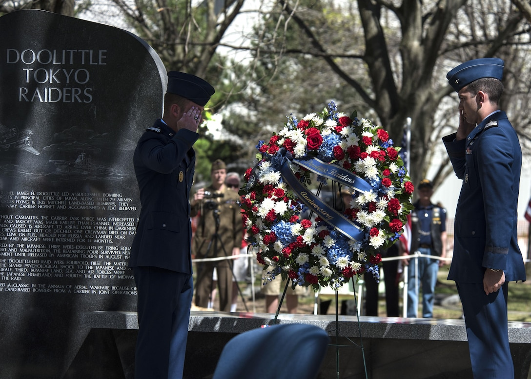 DAYTON, Ohio (04/2017) -- Two cadets from the Air Force Academy present a wreath during a memorial service in honor of the Doolittle Raiders 75th Anniversary, which was held at the National Museum of the U.S. Air Force on April 17-18, 2017. (U.S. Air Force photo by Ken LaRock)