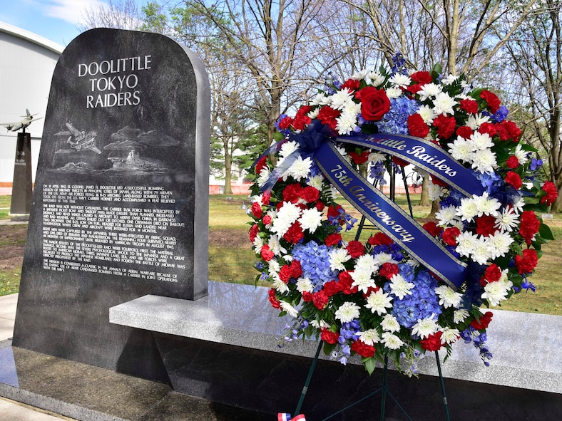 DAYTON, Ohio (04/2017) -- A wreath stands next to the Doolittle Tokyo Raiders Memorial during a service in honor of their 75th Anniversary, which was held at the National Museum of the U.S. Air Force on April 17-18, 2017. (U.S. Air Force photo by Ken LaRock)