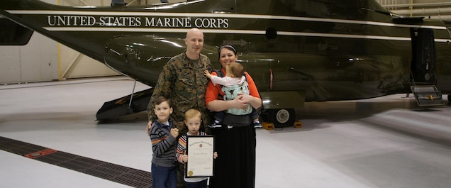 Gunnery Sgt. Cameron Kruse's promotion on November 1, 2016.  One day prior to Gabriel's first birthday seen with his wife Skyler Kruse, Gabriel Kruse, Josiah Kruse and Alexander Kruse holding promotion certificate.