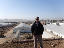 Mike Brown, U.S. Army Corps of Engineers project manager for the housing complex at Mosul Dam, Iraq, is seen here at the project site Jan. 11, 2017.  He worked to oversee the construction of the housing complex, dining facility and structures for essentials such as a potable water. He worked with the contractor on adjusting designs and scope of work to stay within budget and to make safety a priority on the job site. Brown returned to the U.S. Army Corps of Engineers Nashville District in March 2017 where he serves as a geotechnical engineer in the Civil Design Branch's Soils and Dam Safety Section.