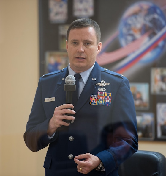 Col. Jack Fischer, the Expedition 51 flight engineer, speaks during the State Commission meeting to approve the Soyuz launch of Expedition 51 to the International Space Station, April 19, 2017, at the Cosmonaut Hotel in Baikonur, Kazakhstan. The Soyuz rocket launched April 20, and carried Fischer and Fyodor Yurchikhin, the Soyuz commander of Roscosmos, into orbit to begin their four and a half month mission on the International Space Station. (NASA photo/Aubrey Gemignani)