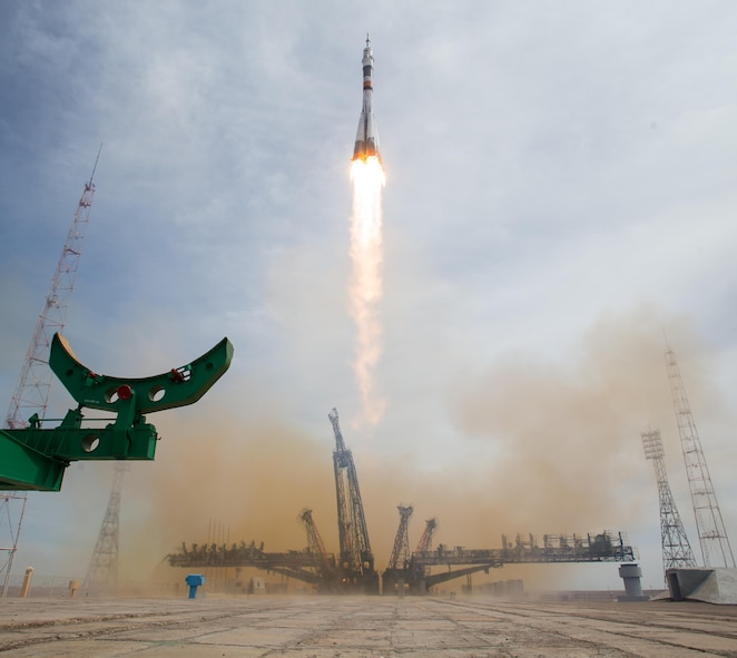 The Soyuz MS-04 rocket launches from the Baikonur Cosmodrome in Kazakhstan April 20, 2017, carrying Fyodor Yurchikhin, the Expedition 51 Soyuz commander of Roscosmos, and Col. Jack Fischer, the Expedition 51 NASA flight engineer, into orbit to begin their four and a half month mission on the International Space Station. (NASA photo/Aubrey Gemignani)