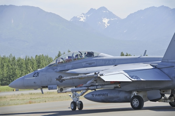 In this official file photo of Northern Edge 2015, a U.S. Navy F/A-18F Super Hornet from the Air Test Squadron, China Lake, Calif., taxis to take off during Exercise Northern Edge at Joint Base Elmendorf-Richardson, June 18, 2015. Northern Edge 15 is Alaska's premier joint training exercise designed to practice operations, techniques and procedures as well as enhance interoperability among the services. Thousands of participants from all services, from active duty, Reserve and National Guard units, are involved.