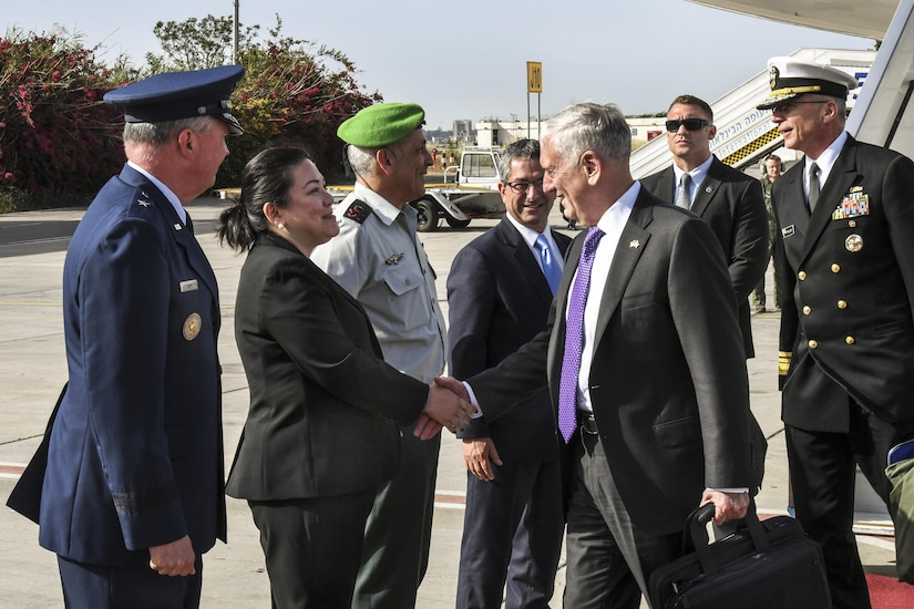 Defense Secretary Jim Mattis arrives at Israel's Ben Gurion Airport, April 20, 2017. Mattis is scheduled to meet with top Israeli officials during his visit. U.S. Embassy Tel Aviv photo by Matty Stern