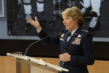 Lt. Gen. Michelle Johnson, the superintendent of the U.S. Air Force Academy, gives the opening remarks at the National Association of Collegiate Directors of Athletes Spring Symposium, hosted by the Academy's Athletic Department, April 10, 2017, in Polaris Hall. During the two-day symposium, athletic directors from several U.S. colleges met to discuss a shared priority: reducing sexual assault and learning innovative ways to teach leadership and develop character among their athletes. (U.S. Air Force photo/Darcie Ibidapo)