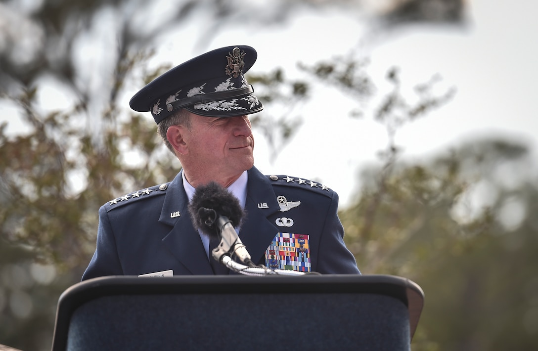 Chief of Staff of the Air Force Gen. David L. Goldfein, speaks during a dual Air Force Cross ceremony, April 20, 2017, at Hurlburt Field, Fla. Master Sgt. (Ret.) Keary Miller, a retired Special Tactics pararescueman from the Air National Guard's 123rd Special Tactics Squadron, and Chris Baradat, a combat controller since separated, both received Air Force Crosses for their actions in combat, which were upgraded from Silver Star medals after a service-wide review. (U.S. Air Force photo by Senior Airman Ryan Conroy)