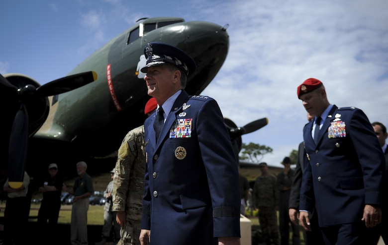 Chief of Staff of the Air Force Gen. David L. Goldfein, marches as a part of the official party for a dual Air Force Cross ceremony, April 20, 2017, at Hurlburt Field, Fla. Master Sgt. (Ret.) Keary Miller, a retired Special Tactics pararescueman from the Air National Guard's 123rd Special Tactics Squadron, and Chris Baradat, a combat controller since separated, both received Air Force Crosses for their actions in combat, which were upgraded from Silver Star medals after a service-wide review. (U.S. Air Force photo by Airman 1st Class Dennis Spain)