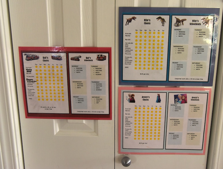 Tech. Sgt. Bennie Prescott, 341st Missile Security Forces Squadron physical security manager, and his wife, Ellen, family child care provider, created chore charts for their kids and how much money they would receive for each one completed April 17, 2017, at Malmstrom Air Force Base, Mont. Bennie and Ellen paid off $253,000 in debt in six years, and through the entire process kept their children involved.