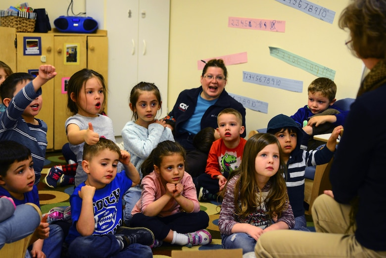 Diane Wulf, 92nd Civil Engineer Squadron pollution prevention program manager, hosts a game with kids during an Earth Day celebration at the Child Development Center Apr. 20, 2017, at Fairchild Air Force Base, Washington. Earth Day is reserved to appreciate the splendor of the planet and encourage people to unite for a sustainable future. (U.S. Air Force photo/Senior Airman Janelle Patiño)