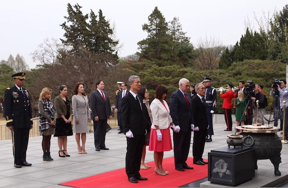 United States Vice President Mike Pence visits Republic of Korea, 16. Apr, 2017. Pence participated in a wreath laying ceremony at Seoul National Cemetery and attended Easter service at South Post Chapel, U.S. Army Garrison Yongsan.