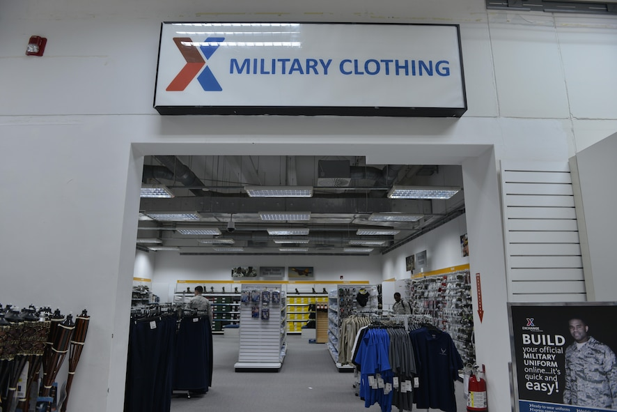 U.S. Airmen shop inside the military clothing section of the Exchange, April 12, 2017, at Incirlik Air Base, Turkey. The section was moved to provide a larger shopping environment. (U.S. Air Force photo by Senior Airman John Nieves Camacho)