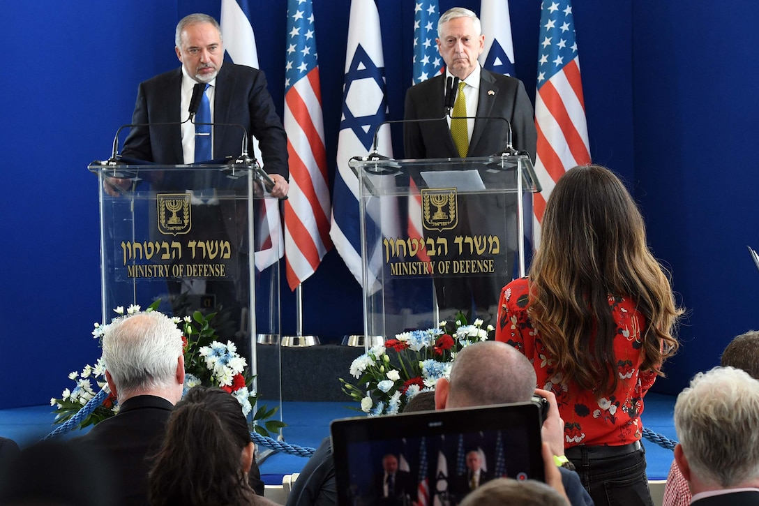 Defense Secretary Jim Mattis and Israeli Defense Minister Avigdor Lieberman hold a news conference in Tel Aviv, Israel, April 21, 2017. U.S. Embassy photo by Matty Stern