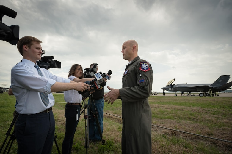 Maj. Will Andreotta, an F-35 Lighnining II pilot from the 61st Fighter Squadron at Luke Air Force Base, Ariz., talks with news media at the Kentucky Air National Guard Base in Louisville, Ky., April 20, 2017. Andreotta is in town to perform in the Thunder Over Louisville air show on April 22. (U.S. Air National Guard photo by Lt. Col. Dale Greer)