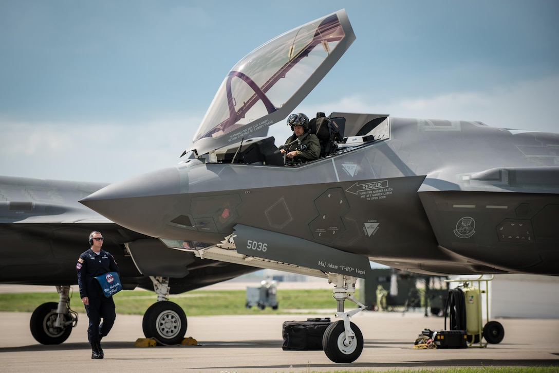 Maj. Will Andreotta, a pilot from the 61st Fighter Squadron at Luke Air Force Base, Ariz., parks his F-35 Lightning II figher aircraft on the flight line of the Kentucky Air National Guard Base in Louisville, Ky., April 20, 2017. The F-35, which is in town to perform in the Thunder Over Louisville air show on April 22, is the Air Force's newest fighter jet. (U.S. Air National Guard photo by Lt. Col. Dale Greer)