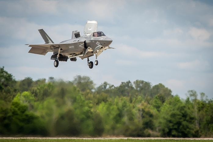 An F-35B Lighting II aircraft prepares to land during a training exercise with Airborne Tactical Advantage Company aboard Marine Corps Air Station Beaufort, April 14. Marine Fighter Attack Training Squadron utilized ATAC to train their pilots in anti-aircraft warfare. ATAC provided the adversary air presentation for VMFAT-501. The F-35B is with VMFAT-501.