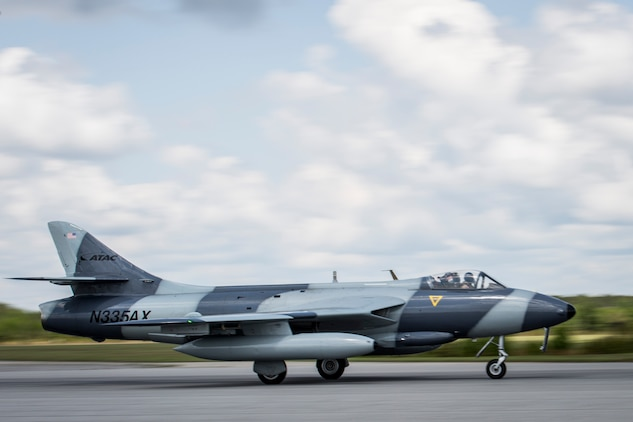 A MK-58 Hawker Hunter prepares to take off aboard Marine Corps Air Station Beaufort June 27. The aircraft is visiting Fightertown to participate in training operations with tenant squadrons. The Hawker Hunter is with the Airborne Tactical Advantage Company. Marine Fighter Attack Training Squadron utilized ATAC to train their pilots in anti-aircraft warfare. ATAC provided the adversary air presentation for VMFAT-501. The Hawker is with ATAC.