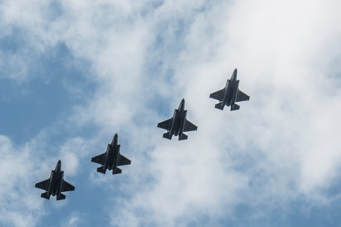 F-35B Lighting II aircraft fly in formation during a training exercise with Airborne Tactical Advantage Company aboard Marine Corps Air Station Beaufort, April 14. The Marine Fighter Attack Training Squadron utilized ATAC to train their pilots in anti-aircraft warfare. ATAC provided the adversary air presentation for VMFAT-501. The F-35B aircraft are with VMFAT-501.