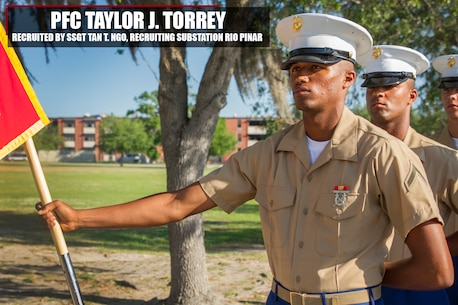 Private First Class Taylor J. Torrey graduated Marine Corps recruit training Apr. 21, 2017, aboard Marine Corps Recruit Depot Parris Island, South Carolina. Torrey is the Honor Graduate of platoon 3025. Torrey was recruited by Staff Sgt. Tan T. Ngo from Recruiting Substation Rio Pinar. (Official Marine Corps photo by Cpl. Adeline N. Smith)