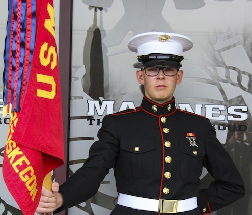 U.S. Marine Corps Pfc. Christopher Rogers, a native of Muskegon, Michigan, poses for a photo on April 11, 2017, at Recruiting Substation Muskegon. Rogers reported to Marine Combat Training on April 17 where he will learn basic infantry tactics and skills. (U.S. Marine Corps photo by Sgt. Immanuel M. Johnson/Released)