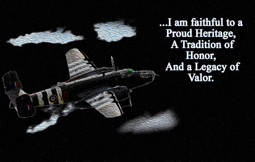 The Airman's Creed is a statement of beliefs designed to ignite a surge of the esprit de corps, values, pride and heritage which defines the unique capabilities of an American Airman. It was designed to reinvigorate a warrior ethos while providing Airmen a tangible statement of beliefs. (U.S. Air Force graphic by Staff Sgt. William Banton)