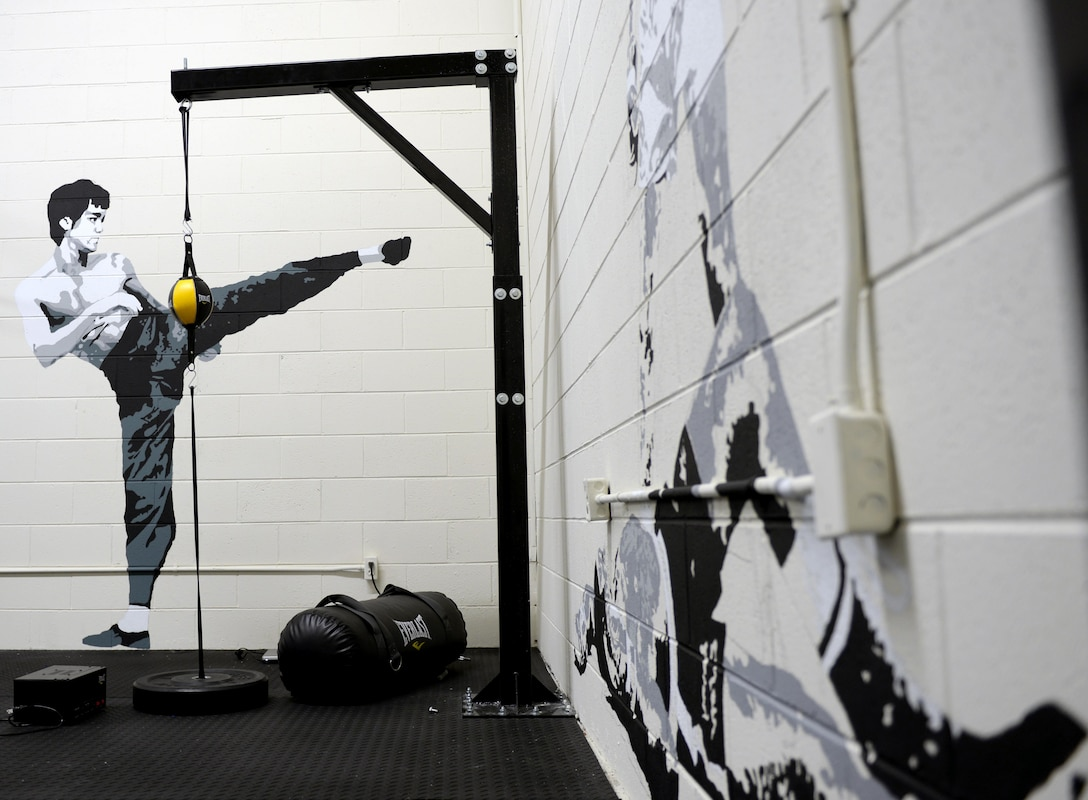Newly painted murals line the walls of the boxing room at the Gunter Air Force Base Gym, April 12, 2017. The murals were created by Ian Mangum, a Family Camp reservation specialist with the 42nd Force Support Squadron. His artwork is a collaboration of famous and iconic boxers from past to present. (U.S. Air Force photo/Senior Airman Tammie Ramsouer)