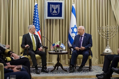 Defense Secretary Jim Mattis meets with Israeli President Reuven Rivlin in Jerusalem, April 21, 2017. DoD photo by Air Force Tech. Sgt. Brigitte N. Brantley