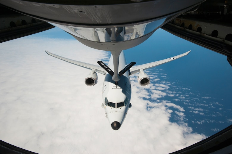 A Naval Air Systems Command P-8A Poseidon is refueled by a 459th Air Refueling Squadron KC-135R Stratotanker over the Atlantic Ocean April 13, 2017. This was the first inflight refueling of a P-8A. The P-8A is the second-ever Navy aircraft to be fitted with a receiver for aerial refueling; the first being the E-6B Mercury nearly 30 years ago. (U.S. Air Force photo/Tech. Sgt. Kat Justen)