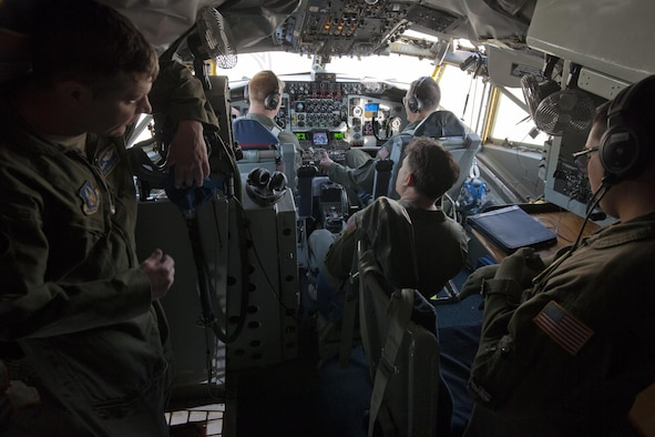 Aircrew with the 756th Air Refueling Squadron conduct preflight checks prior to takeoff from the Joint Base Andrews, Maryland, flight line April 13, 2017. After a year of planning, the 756 ARS embarked on a mission to refuel a Naval Air Systems Command P-8A Poseidon. The P-8A is the second-ever Navy aircraft to be fitted with a receiver for inflight refueling; the first being the E-6B Mercury nearly 30 years ago. (U.S. Air Force photo/Tech. Sgt. Kat Justen)