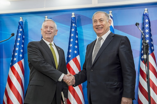 Defense Secretary Jim Mattis shakes hands with Israeli Prime Minister Benjamin Netanyahu in Jerusalem, April 21, 2017. DoD photo by Air Force Tech. Sgt. Brigitte N. Brantley