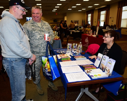 Mr. Ed Chandler, Chief of Quality Assurance and Senior Master Sgt. Rob Lind, Operations Superintendent, both from the 914th Communications Squadron gather information from one of the many vendors present at the Niagara Falls ARS Wellness Fair April 6, 2017.  The annual event is sponsored by the 914th Airlift Wing to help base employees, military and civilian, their families, and veterans, obtain information on many local services that are offered to live a healthier lifestyle. Examples were nutrition and healthy eating habits, stress management, and financial advice just to name a few. (U.S. Air Force photo by Peter Borys)