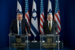 Defense Secretary Jim Mattis and Israeli Defense Minister Avigdor Lieberman host a joint press conference at the Israeli Ministry of Defense in Tel Aviv, Israel, April 21, 2017. Mattis is the first cabinet member from the new administration to visit Israel. DoD photo by Air Force Tech. Sgt. Brigitte N. Brantley