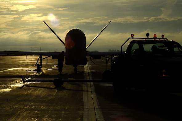 An RQ-4 Global Hawk prepares to taxi to its hangar after a successful flight March 25, 2017, on Grand Forks Air Force Base, N.D. Airmen with the 69th Maintenance Squadron performed the first Air Force-led Mobile Automated Scanner scan on this aircraft, which allowed it to continue its part in supporting the combatant commands. (U.S. Air Force photo by Senior Airman Ryan Sparks)