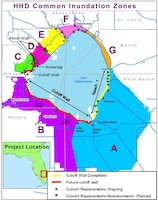 """The U.S. Army Corps of Engineers continues rehabilitation of the Herbert Hoover Dike surrounding Lake Okeechobee in south Florida.  This map shows current and future rehabilitation activities.  The Corps has installed 21 miles of seepage barrier, commonly known as a partial cutoff wall, in the area marked """"Reach 1.""""  The Corps plans to resume installation of additional cutoff wall within the next year in the area west of Belle Glade.  The Corps is also replacing 26 water control structures, commonly known as culverts, in various locations around the lake."""