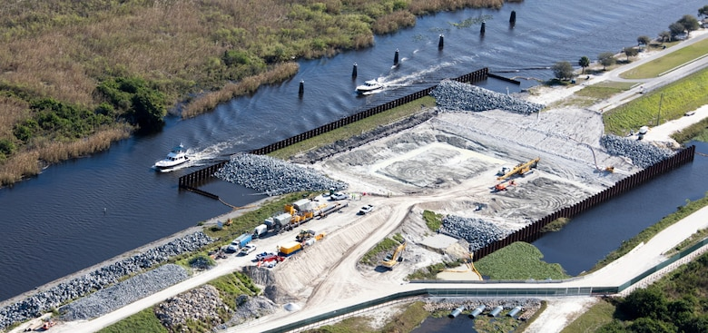 Crews work to replace Culvert 2 along the south side of Lake Okeechobee in Clewiston, Fla.  The U.S. Army Corps of Engineers is replacing 26 water control structures, commonly known as culverts, as part of its ongoing rehabilitation of the Herbert Hoover Dike which surrounds the lake.